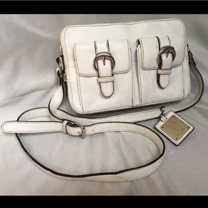 Tignanello White Leather Crossbody Purse